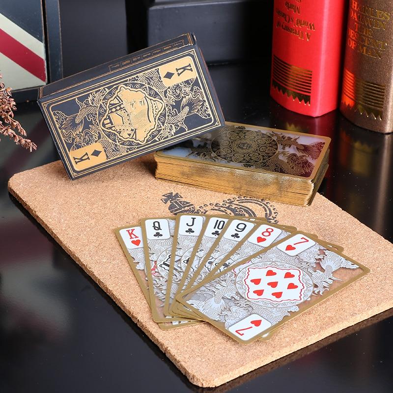 55 հատ / սահմանված անջրանցիկ թափանցիկ PVC պլաստիկ պոկեր ոսկե եզրին խաղաթղթեր վիշապի քարտ նորույթ բարձրորակ նվեր