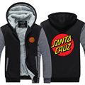 Chegada nova OEM Skate Skate Santa Cruz Homens Hoodies do Velo impresso engrosse zip up mens clothing eua ue plus size tamanho
