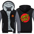 New Arrival OEM Skateboard Skate Santa Cruz Men Hoodies Fleece Printed Thicken Zip up Mens Clothing USA EU size Plus size