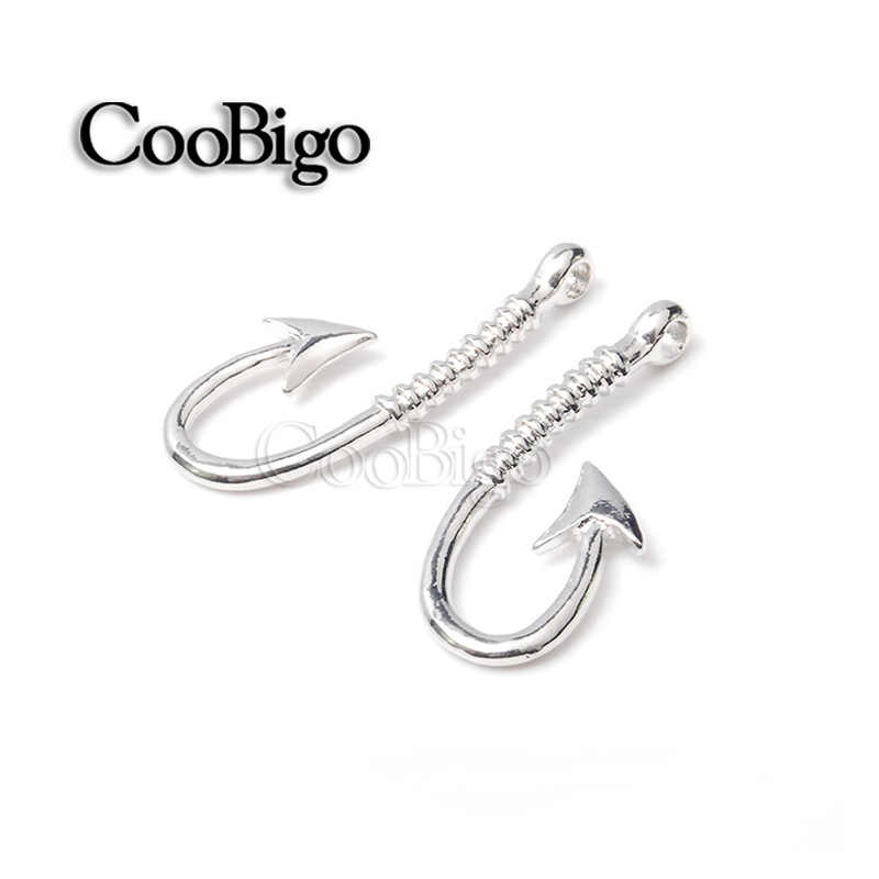1Pcs Nautical Anchor Fishhook Charm Pendant Alloy Jewelry DIY  Leather Cord Clasps For Chain Paracord Bracelet