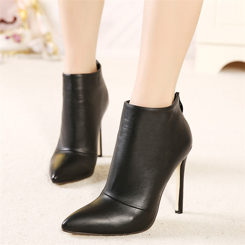 Women Spring Autumn Suede Leather Black Red Pointed Toe Zipper Ankle Short Thin High Heels Boots Female Booties China Shoes F38 egonery quality pointed toe ankle thick high heels womens boots spring autumn suede nubuck zipper ladies shoes plus size