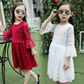 Princess Girls Lace Dress 2016 Summer Fall New Kids Girls Flare Sleeve Dress Party Wedding Birthday Dresses White Red Clothes