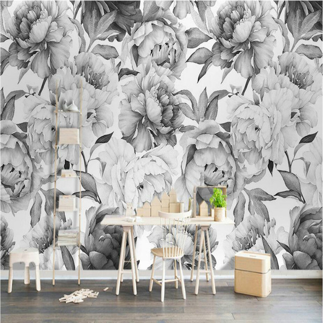 Nordic Black And White Peony Flower 3D Wallpapers For Walls 3d Wall Paper Vintage Decorative Painting