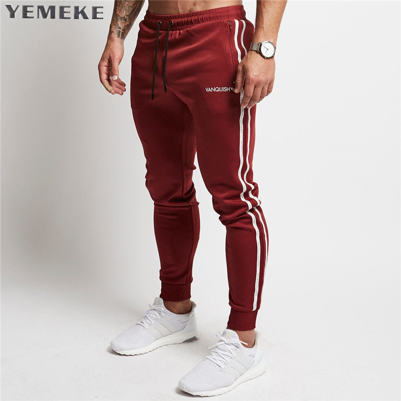 2017 Men's Jogger Pants Cotton Male Bodybuilding Fitness Pants Casual Black Wine red Trousers Sweatpants For Man