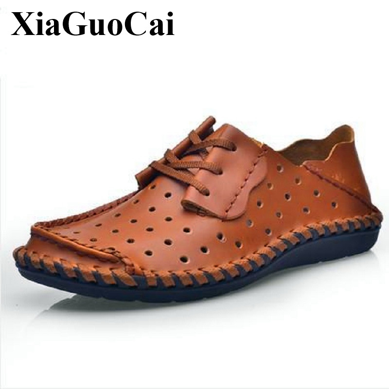Summer Genuine Leather Men's Casual Shoes Handmade Hollow Breathable Loafers Soft Sole Non-slip Lace-up Flats Shoes H248 35 top brand high quality genuine leather casual men shoes cow suede comfortable loafers soft breathable shoes men flats warm