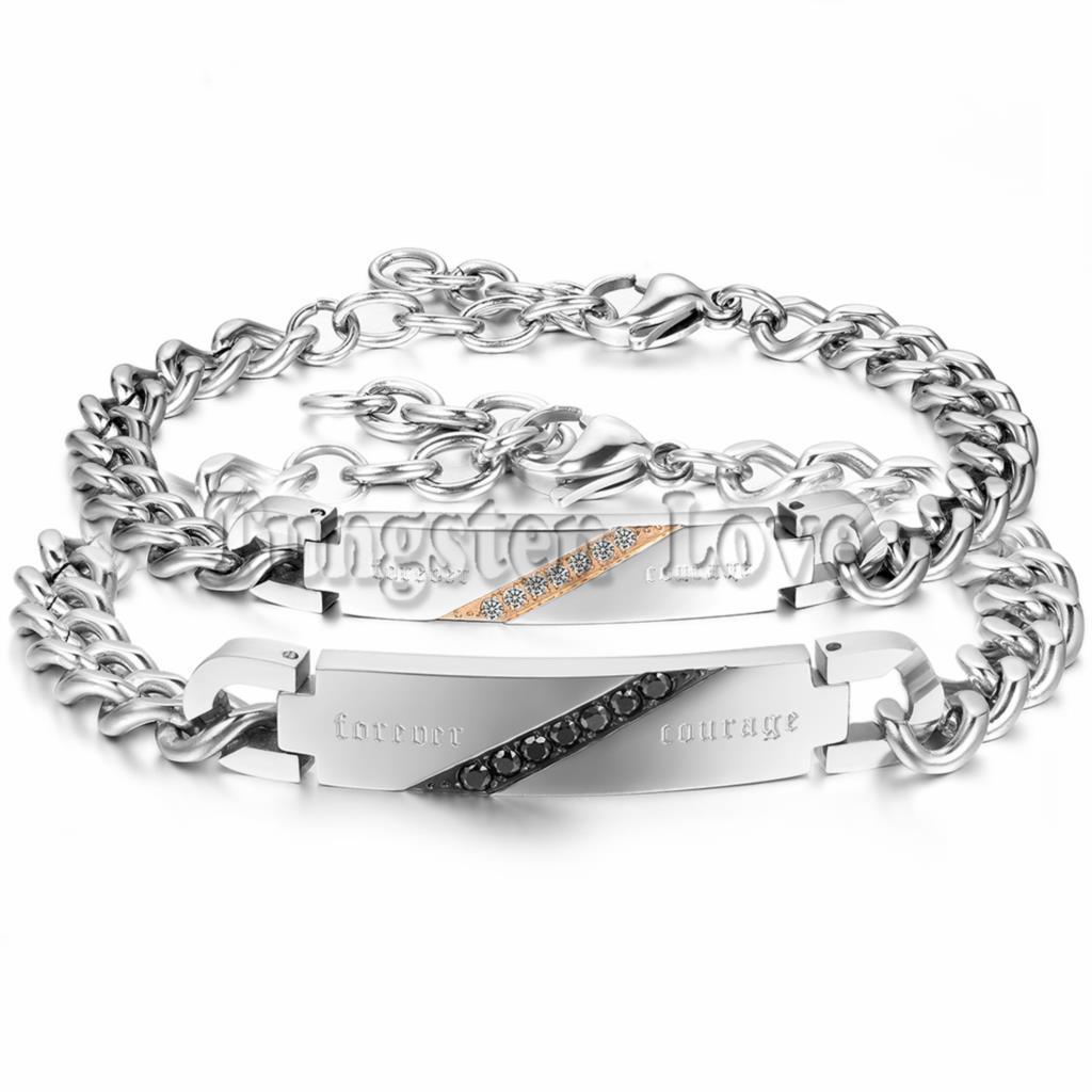 Fashion Romantic Forever Courage Couple Bracelets Crystal Stainless Steel Promise Bracelet For Men Women