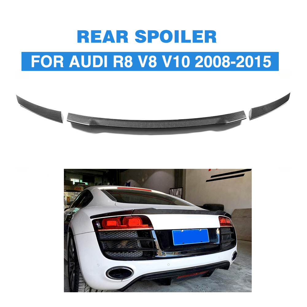 3PCS for Audi R8 GT V8 V10 2008 2014 Rear Trunk Lid Spoiler Wing Car Styling Carbon Fiber / FRP Black