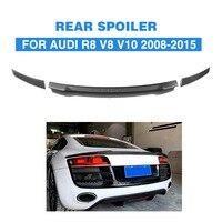 3PCS for Audi R8 GT V8 V10 2008 2014 Rear Trunk Lid Spoiler Wing Car Styling Carbon Fiber / FRP Black