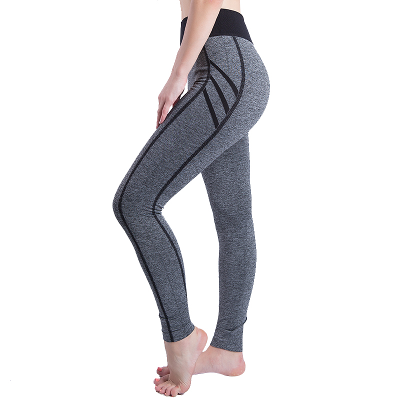 Six Color Women's Casual Striped Leggins Mujer High Waist Stretch Seamless Slim Breathable Sweatpants Sexy Push Up Pink   Leggings