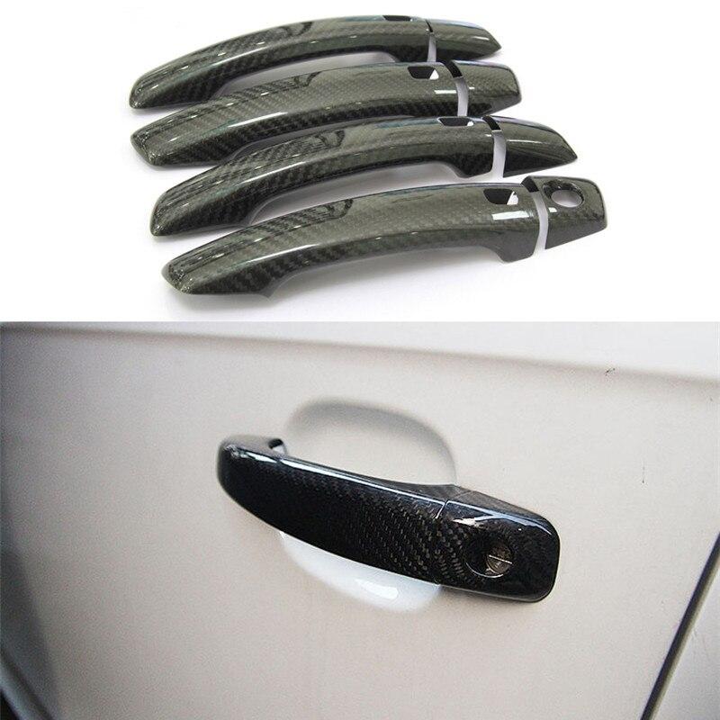 Accessoires Auto en Fiber de carbone poignée de porte bouton garniture extérieure couvre coque pour Audi A1 A3 A4 A4L A5 Q3 Q5 S3 S4 S5 SQ5 B8 B9