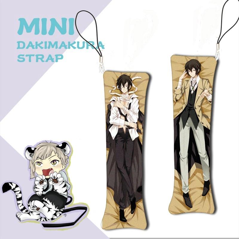 Hot Anime Mini Dakimakura Bungo Stray Dogs Osamu Dazai Keychain Nakajima Atsushi Pillow Hanging Decoration Phone Strap 1pcs