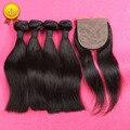 Brazilian Straight Virgin Hair Human Hair Weave 4 Bundles With Silk Closure Hair Weft With Silk Closure Hair Extensions 5pcs Lot