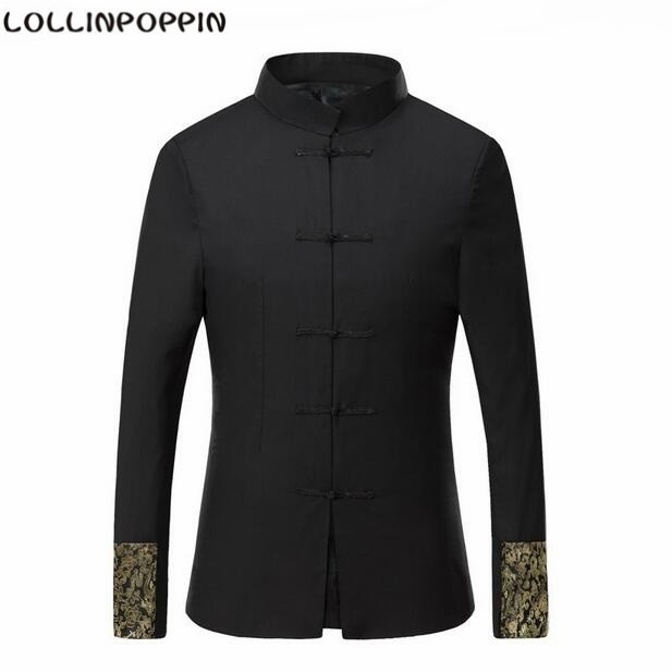 Traditional Chinese Tunic Suit Jacket Frog Closure Golden Dragon Embroidery Tang Suit Mandarin Collar Mens Coat Free Shipping