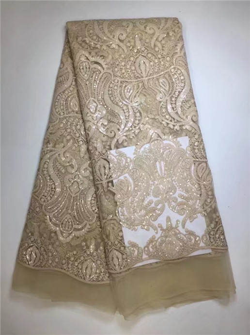High Quality African French Lace Fabrics Gold Net Embroidery Sequins Tulle Lace Fabric For Nigerian Wedding