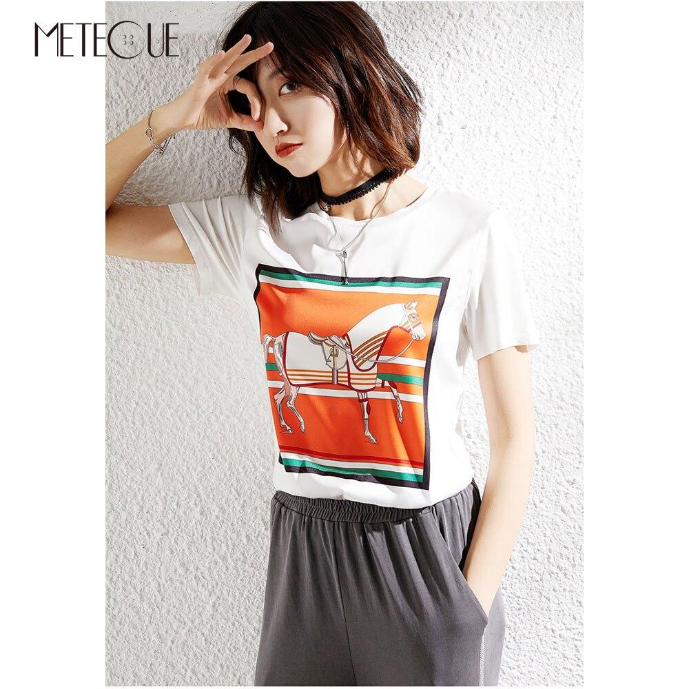 Silk Modal Patchwork Women Tee Shirt 2019 Spring Summer Fashion Printed Short Sleeve Women Summer Tops