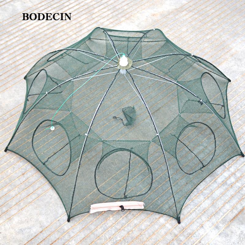 8 Foro Rete Rete Da Pesca Piegato Portatile Hexagon Pesce Nets Casting Gamberi Gamberetti Catcher Trappola Serbatoio Cina Gabbie Maglia A Buon Mercato