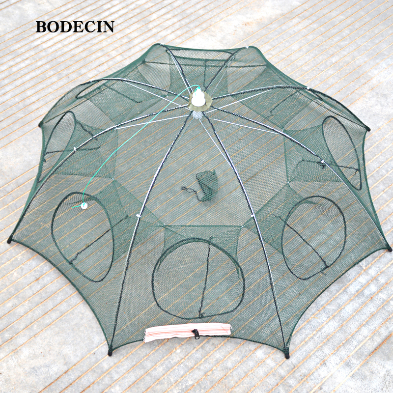 8 Hole Fishing Net Folded Portable Hexagon Fish Network Casting Nets Crayfish Shrimp Catcher Tank Trap China Cages Mesh Cheap