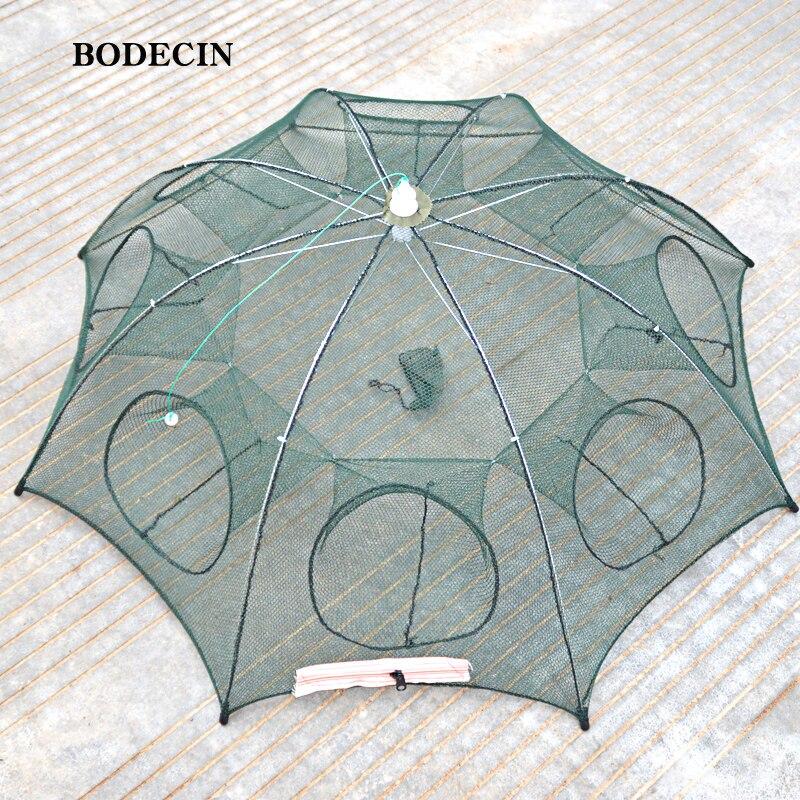 8 Loch Fischernetz Gefaltet Tragbaren Hexagon Fisch Netzwerk Nets Krebse Garnelen Catcher Tank Falle China Käfige Mesh Günstige
