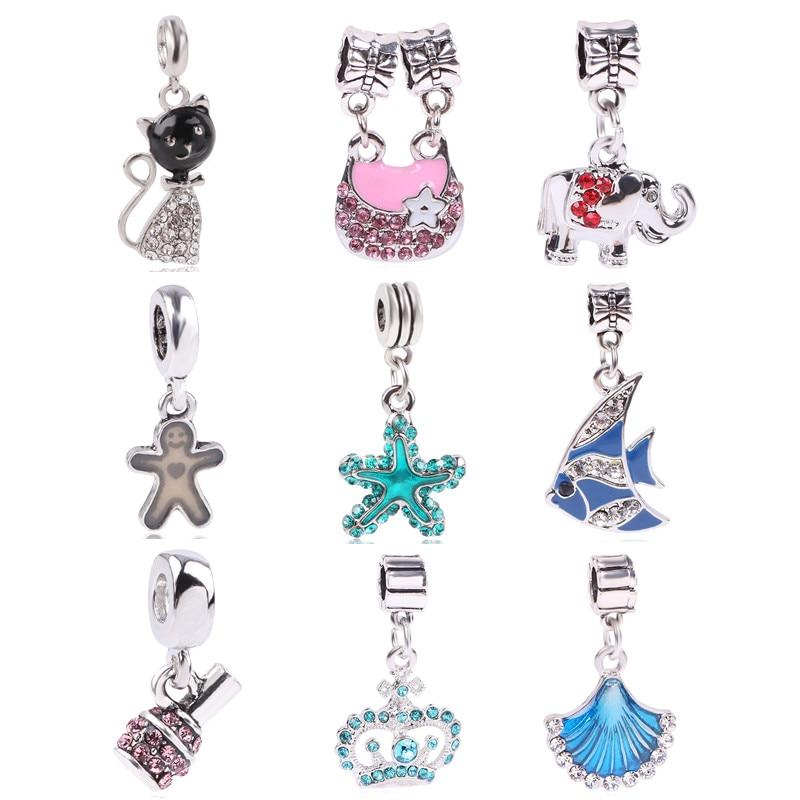 AIFEILI Silver Color Bead Charm Cat Fish Elephant Starfish CZ Crystal Lucky Pendant Beads For Original Pandora Bracelets DIY