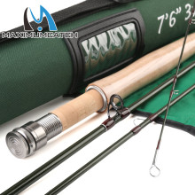 Maximumcatch 40T SK Carbon 7.6FT 3 WT Fly Fishing Rod  Fast Action With Cordura Tube Super Light Fly Rod