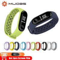 Mijobs Sports Silicone Bracelet for Xiaomi mi Band 3 Wrist Strap Smart Wristband for mi Band 3 Watch Strap Mi 3 Band Accessories