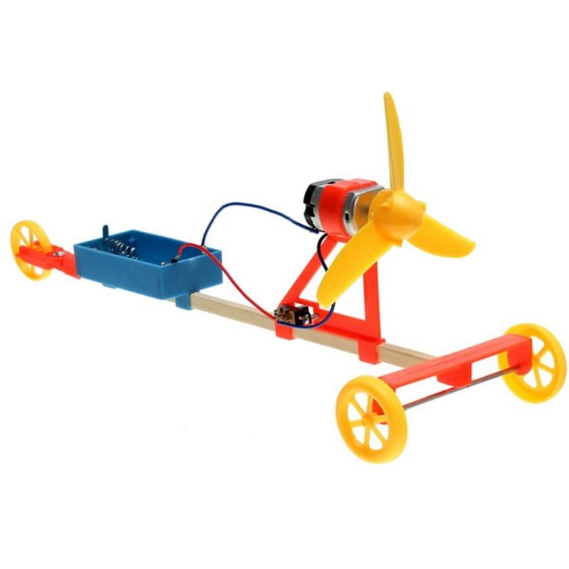 Diy hecha a mano montado toys wind power car kit de plástico respetuoso del medi