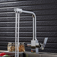 Высокое качество chrome смеситель для Кухни латунь кран горячей и холодной раковина кран водопроводной Воды с прямой напиток трубы, три отверстия кухня fauet