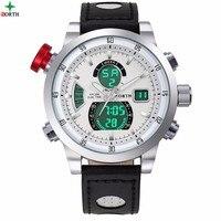 Bắc Luxury Men Sport Đồng Hồ Chronograph LED Hiển Thị Dual Time Đồng Hồ Man Xem Không Thấm Nước Chính Hãng Da Bình Thường Nam Đồng H