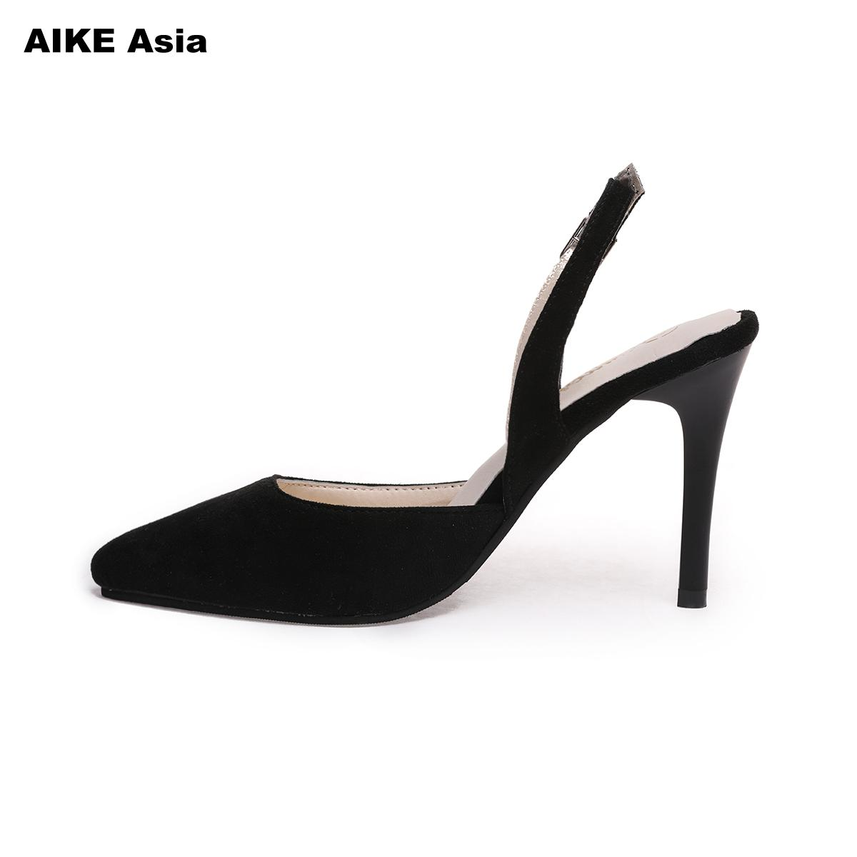 The New 2018 Sexy Thin High Heel Pointed Toe Suede Woman Pumps Fashion Slip On Party Lazy High Heel Shoes Ladies Black