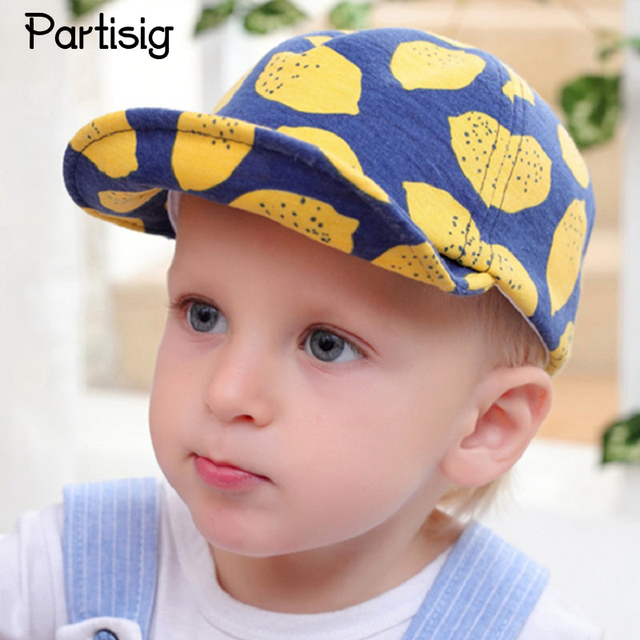 adfd4b4e4857 Partisig Brand Baby Hats Lemon Print Cotton Boys Baseball Cap Kids Girls Summer  Hat Baby Boy Sun Hat