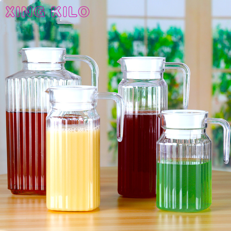 XING KILO Acrylic PC Jug Juice Jug Cold Kettle Household Large Capacity Plastic Heat-resistant Kettle Striped Jug