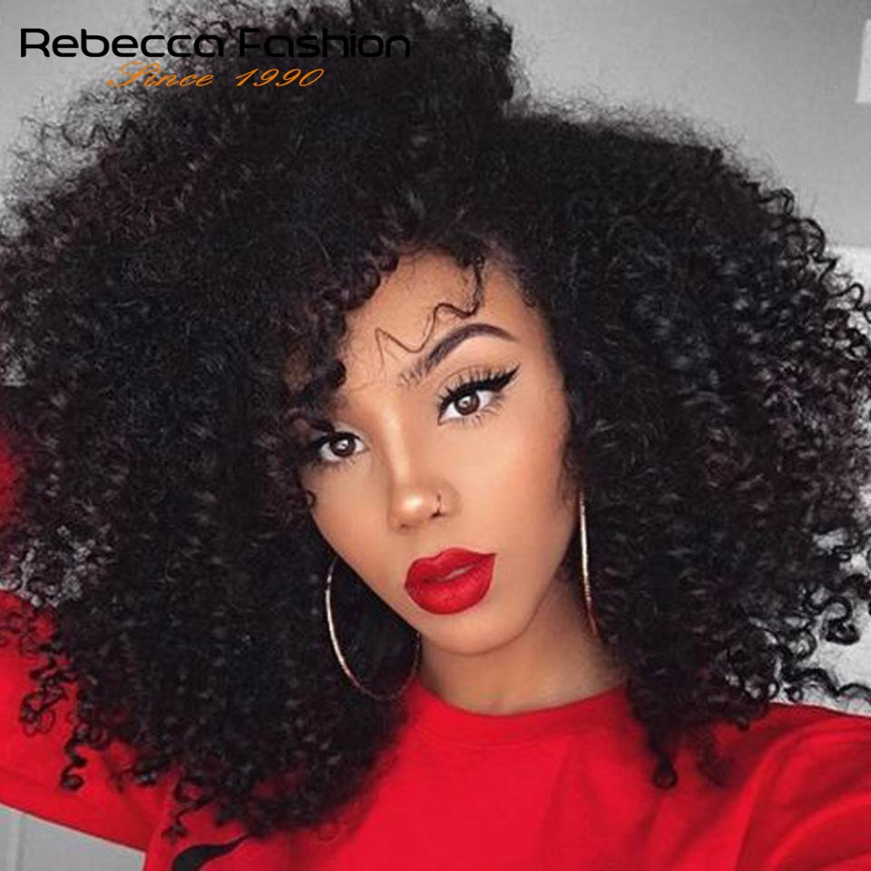 Jerry Curly Lace Front Human Hair Wigs With Baby Hair Brazilian Remy Hair Short Curly Bob Wigs For Women Pre-Plucked Wig Rebecca