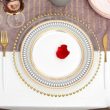 Скандинавские золотые бусины стекло зарядное устройство ужин покрытием блюдо декоративные салат фрукты Свадебная табличка ужин