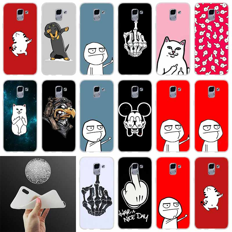 Phone Cover meme face Middle Finger Funny Cartoon FOR Samsung Galaxy J6 J4 J8 J7 2018 Plus J3 J5 J7 Prime Pro 2017 2016 case image