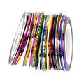FANALA 30 Rollos/lot Metallic Line Striping Nail Stickers Color de La Mezcla de Uñas Beauty Nail Art Stickers Decal Decoración