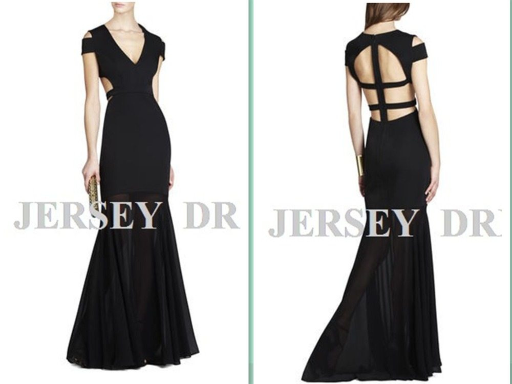 free shipping vestidos formales maxi 2018 black long V-neck fish tail plus sexy backless elegant party gown   bridesmaid     dresses