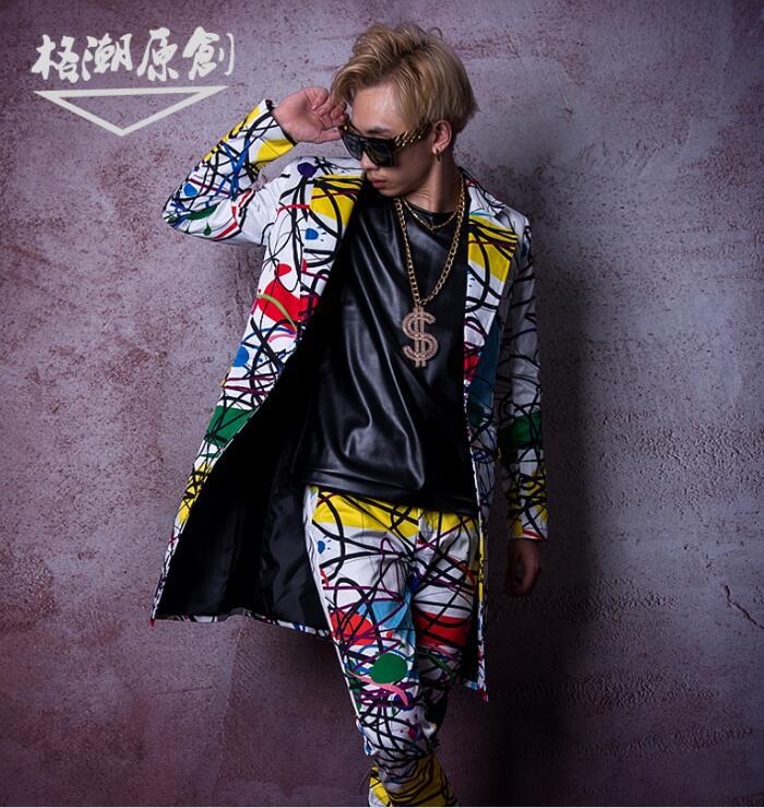 Personnalisé hommes scène Costume chanteur danseur DJ vêtements hommes mode Hip Hop longue jolie pochette Costume veste mâle pardessus