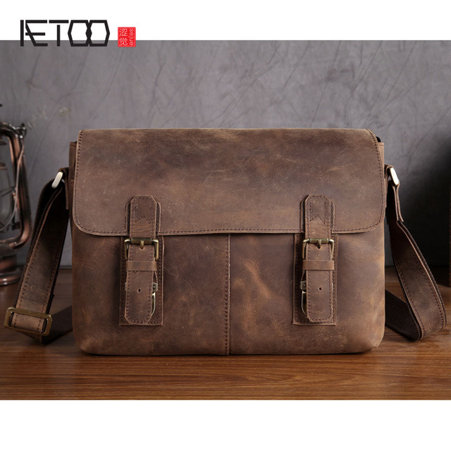 AETOO Men's first layer of cowhide magazine postman bag mad horse skin retro computer bag leather fashion shoulder Messenger bag