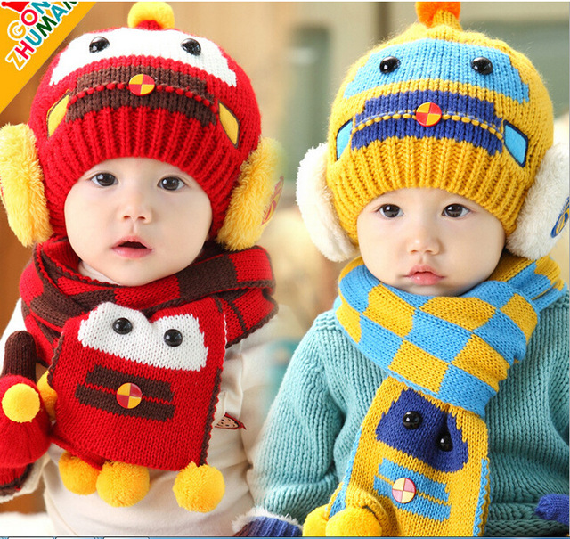 Winter Baby Hat Warm Cute Cartoon Crochet Knitted Cap Baby Hat + Scarf 2pcs  Sets Newborn e7f9d88db424