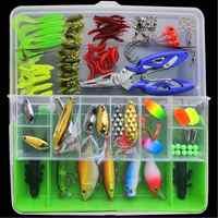 101 pcs/lot leurre de pêche à la mouche Set chine appât dur Jia leurre Wobbler carpe 6 modèles matériel de pêche méné/Popper/Wobbler cuillère métal