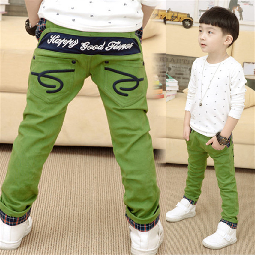 2018 Fashion kids boy pants child trousers casual pants for boys patchwork plaid roll up hem spring trousers embroidery button embellished rolled up hem belted shorts