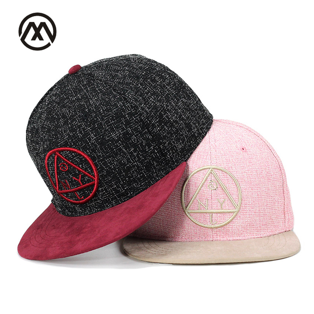 2f1ec7228f1 Skateboard Snapback cap NY round triangle embroidery Rapper flat brim cap  youth hip hop cap and hat for boys and girls