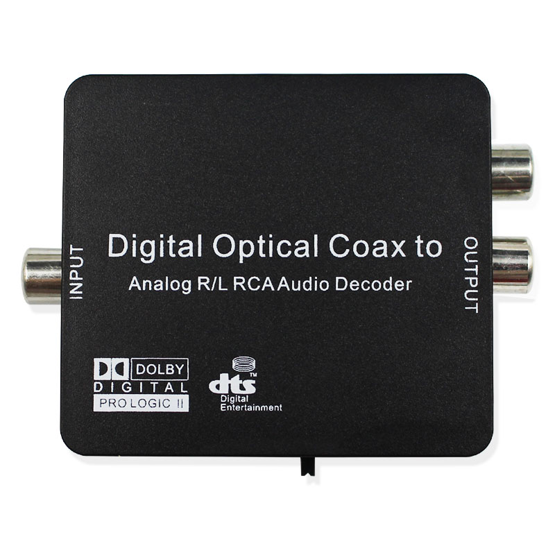 Digital To Analog Audio L R Decoder Support AC3 DTS Dolby Toslink Coaxial 3.5mm Earphone Fiber Optical Decoder Converter digital ac3 optical to stereo surround analog hd 5 1 audio decoder 2 spdif ports hd audio rush for hd players dvd xbox360