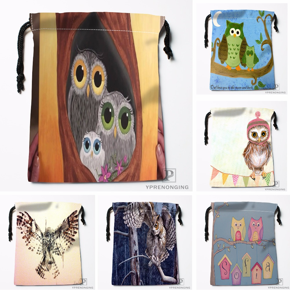 Custom Cartoon Owl House Drawstring Bags Printing Travel Storage Mini Pouch Swim Hiking Toy Bag Size 18x22cm#180412-11-90