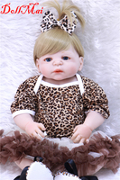 DollMai 22 real bebe girl doll reborn full silicone body reborn dolls nice dress with shoes blue/brown eyes dolls for children