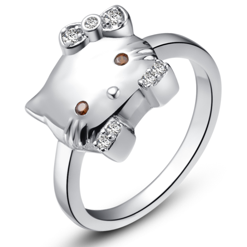 high quality zircon 925 sterling silver cute hello kitty cat wedding party rings for women size