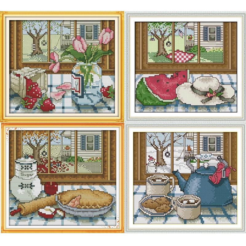 Quatre saisons à l'extérieur de la fenêtre Toile imprimée DMC Kits de point de croix comptés imprimés Set pour points de croix broderie Couture