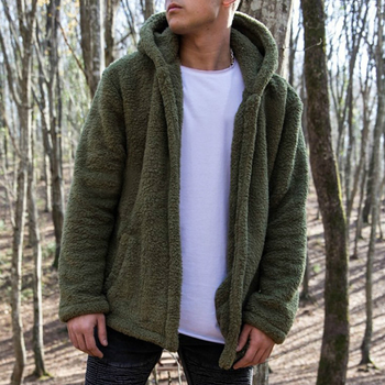 Bomber Cardigan Jacket Thick Warm Fleece Teddy Coat for Mens