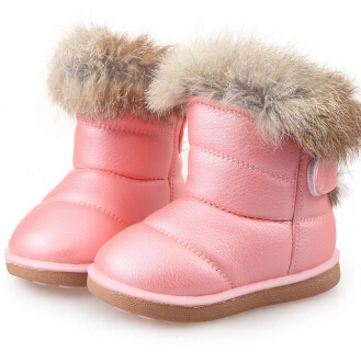 Kids Boots Children's Rubber Boots Winter Children Thicken Plush Snow Boots Child Warm Leather Short Baby Infant White Shoe