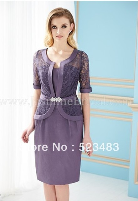 Elegant Best Purple Mother Of The Bride Groom Outfits Evening Gown Plus Size Mom Dresses